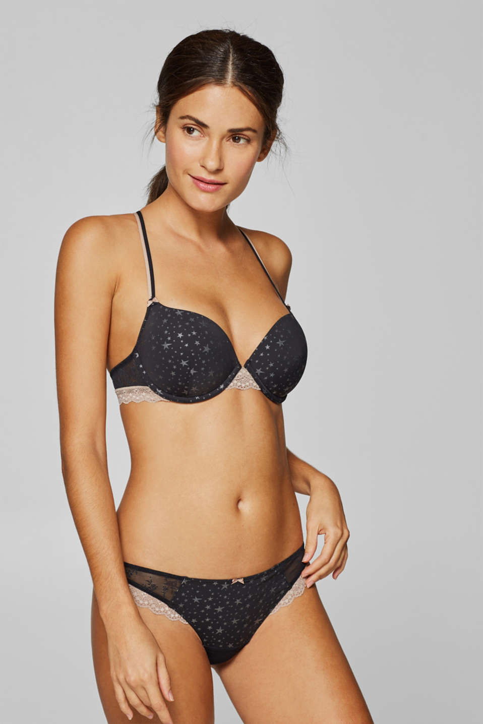 edc - Padded underwire bra with lace and a star pattern