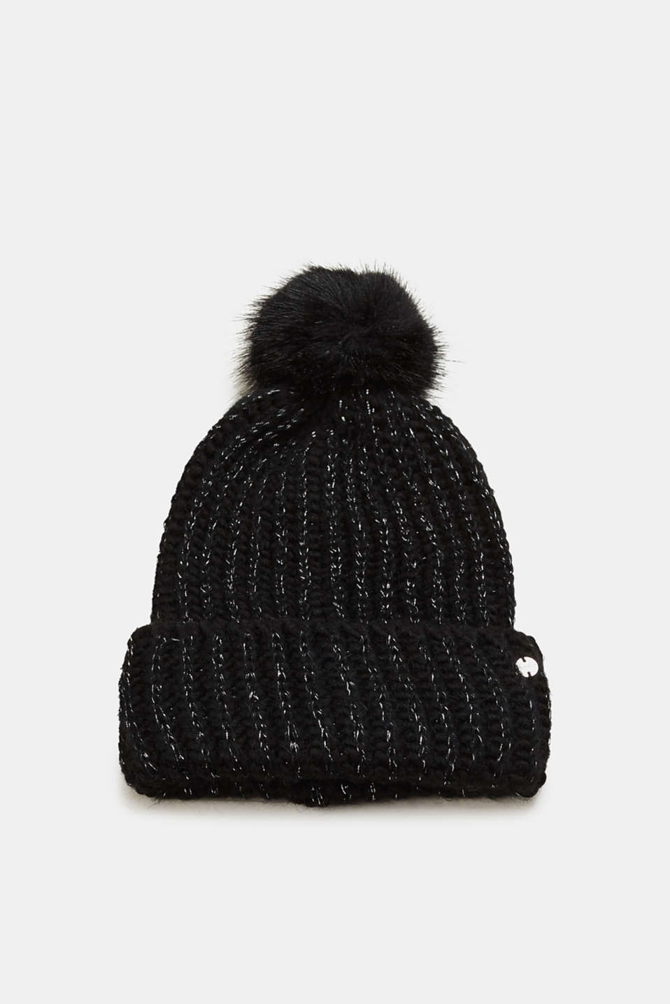 Esprit - Wool blend: glittering beanie with a faux fur pompom