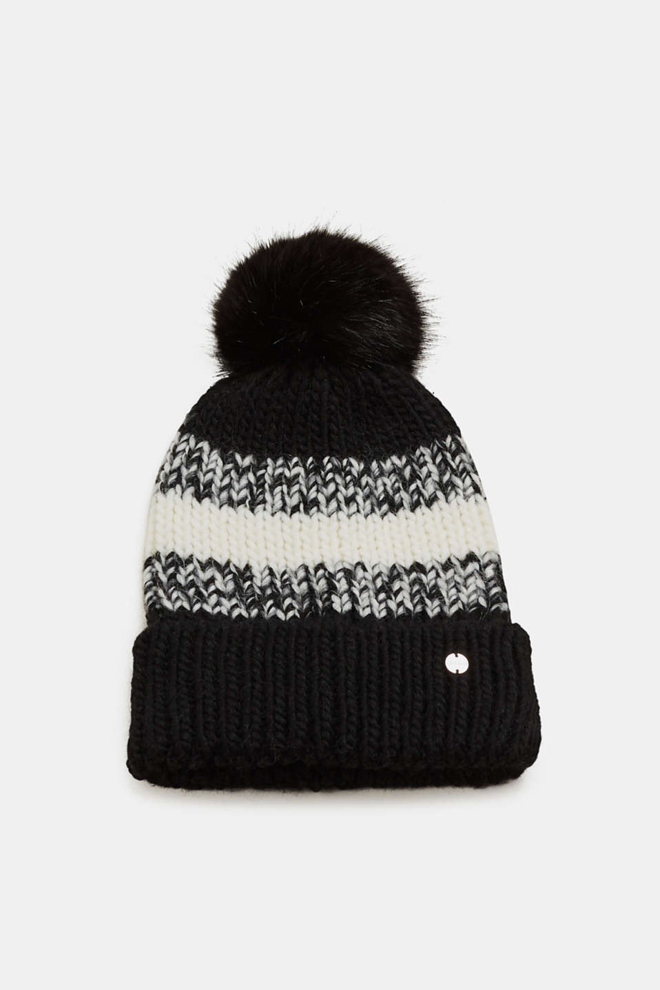 Esprit - Wool blend: beanie with a faux fur pompom