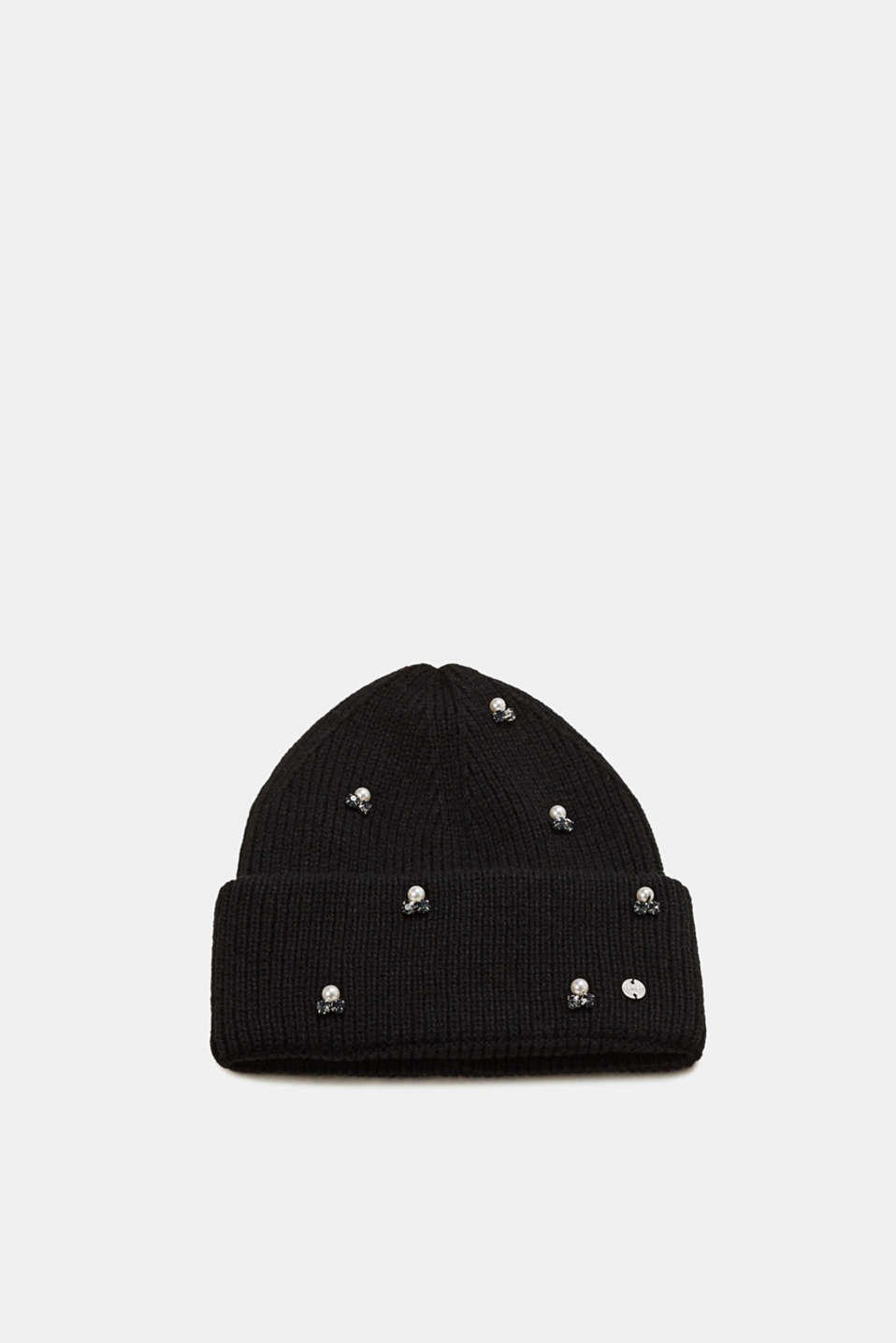 Esprit - Knit beanie with bead embellishments