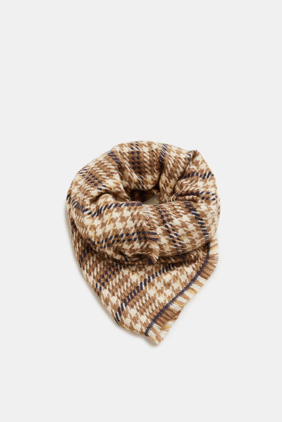 Esprit - Woven scarf with a pepita pattern