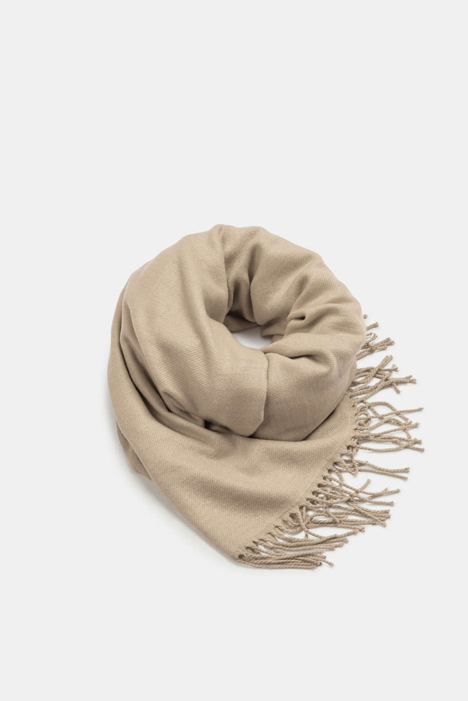 Esprit - Double-faced fringed scarf