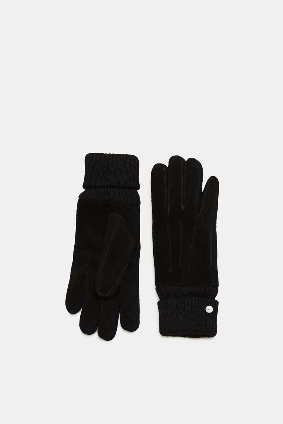 Esprit - Leather gloves with ribbed cuffs