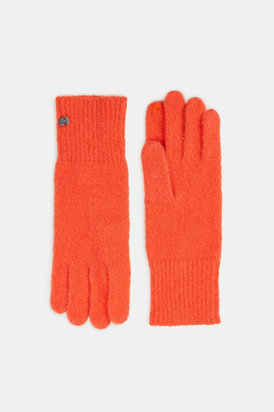 Esprit - Knitted gloves with a brushed outer surface