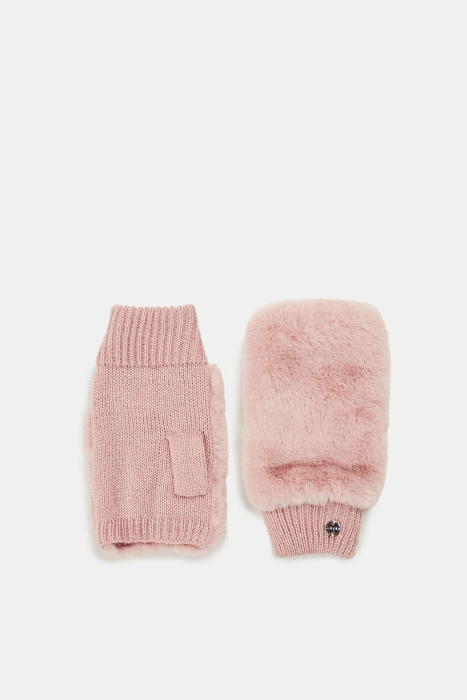 Esprit - Fingerless gloves with fake fur trim