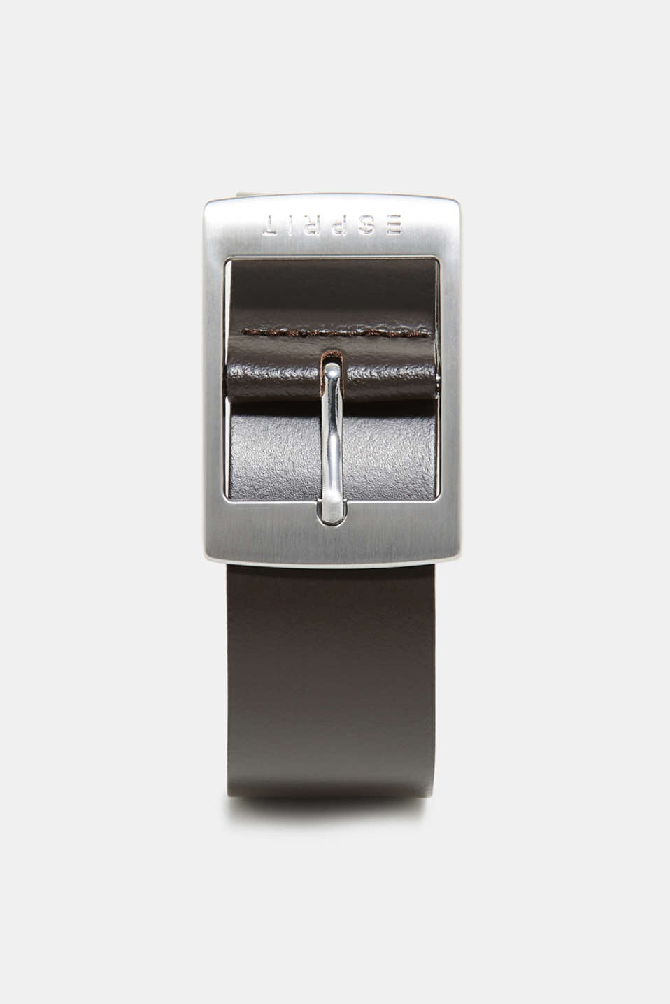 Esprit - Leather belt with a satined metal buckle