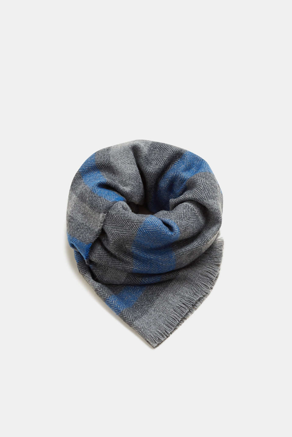 Esprit - Striped scarf with a herringbone texture