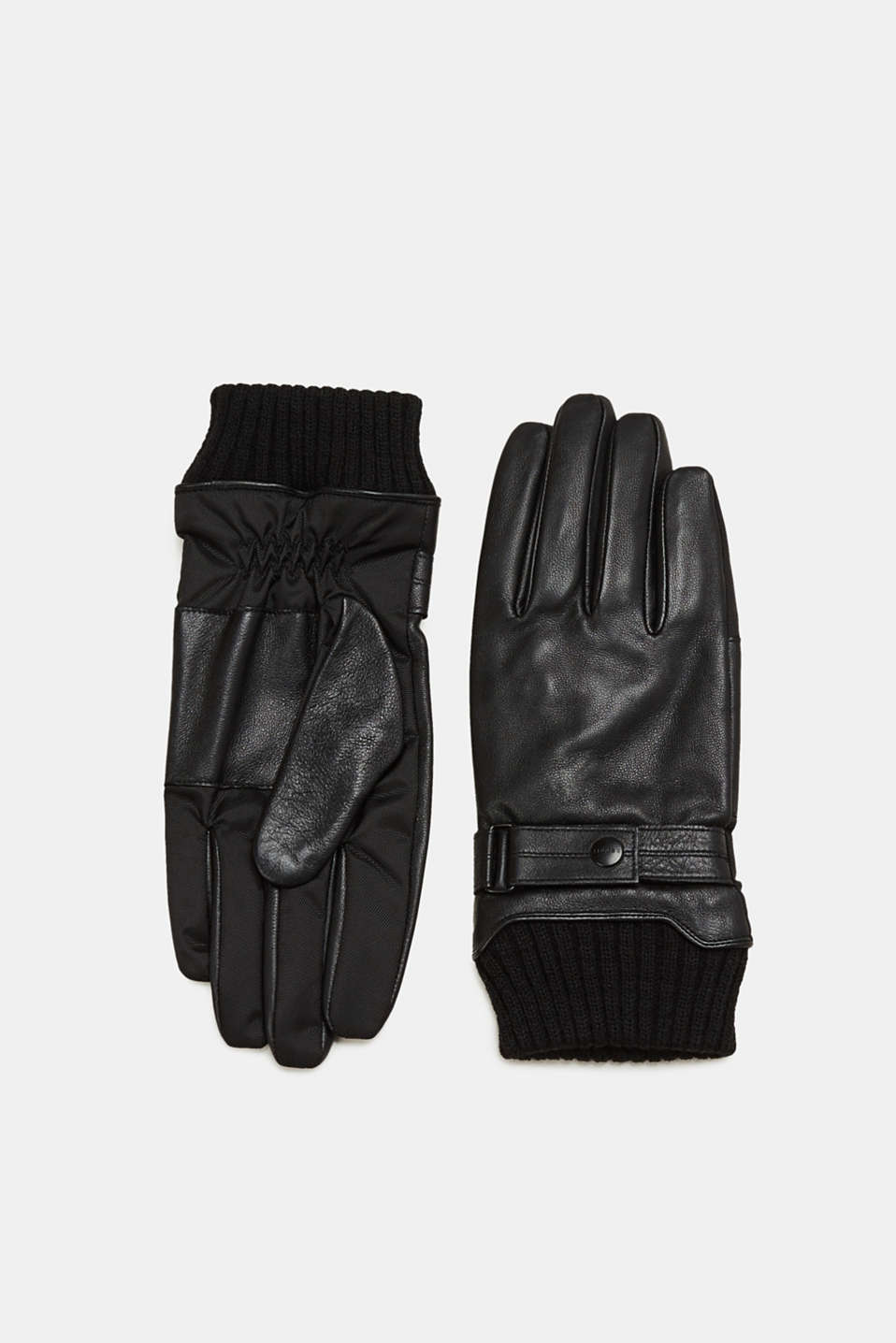 Esprit - Leather gloves with knit cuffs
