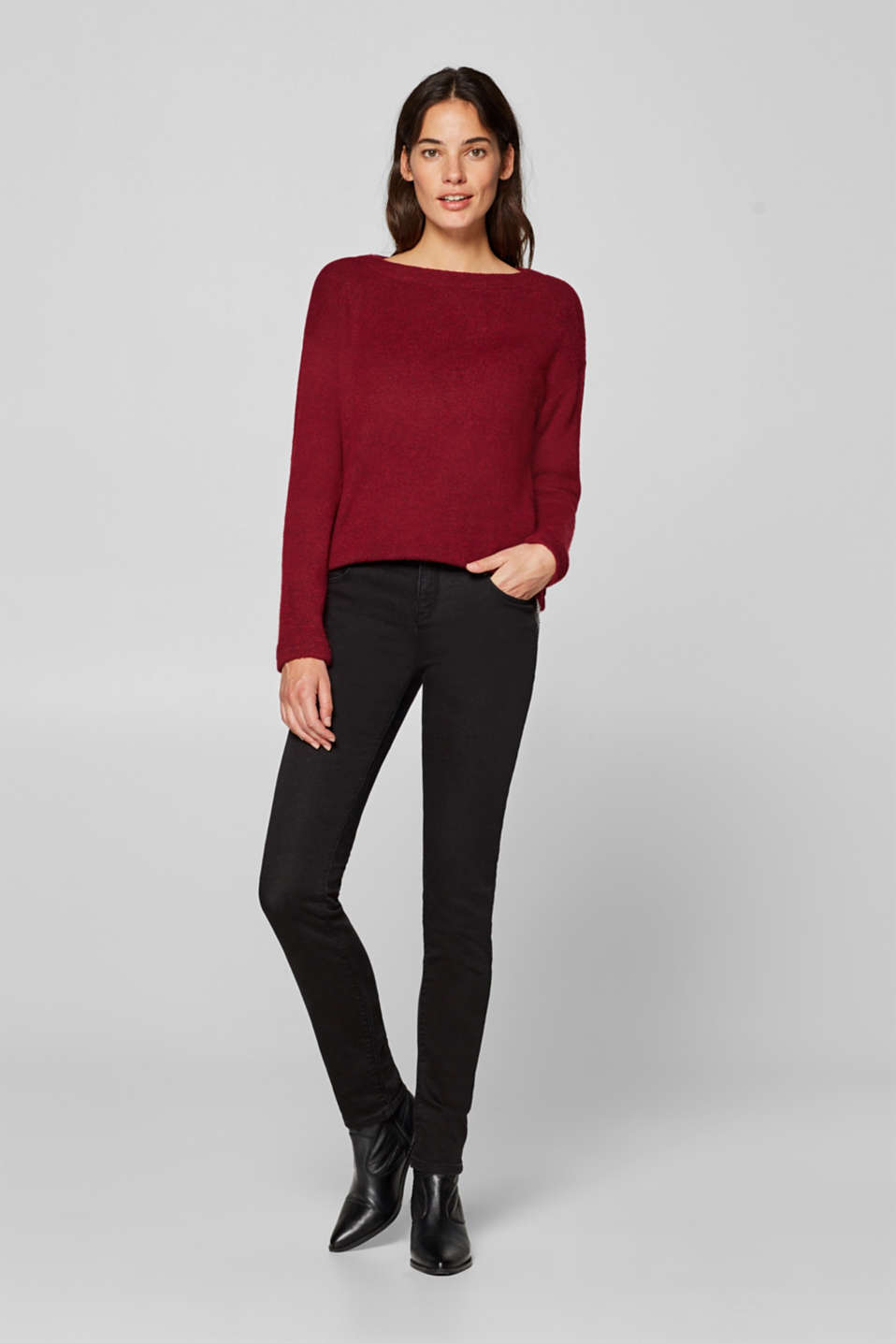 Esprit - Stretch jeans with zips and a soft texture
