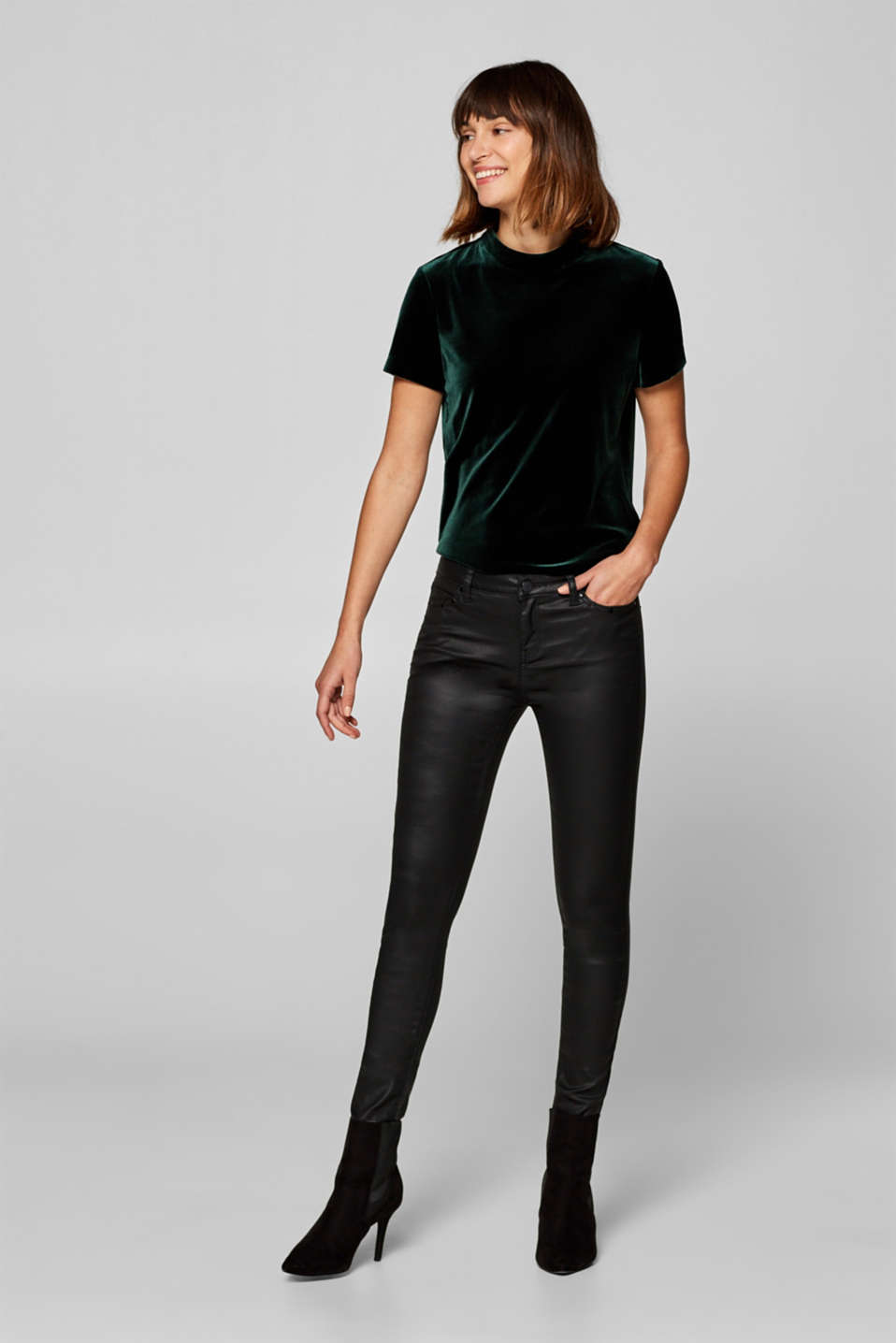 Esprit - Coated stretch trousers with studied embellishment