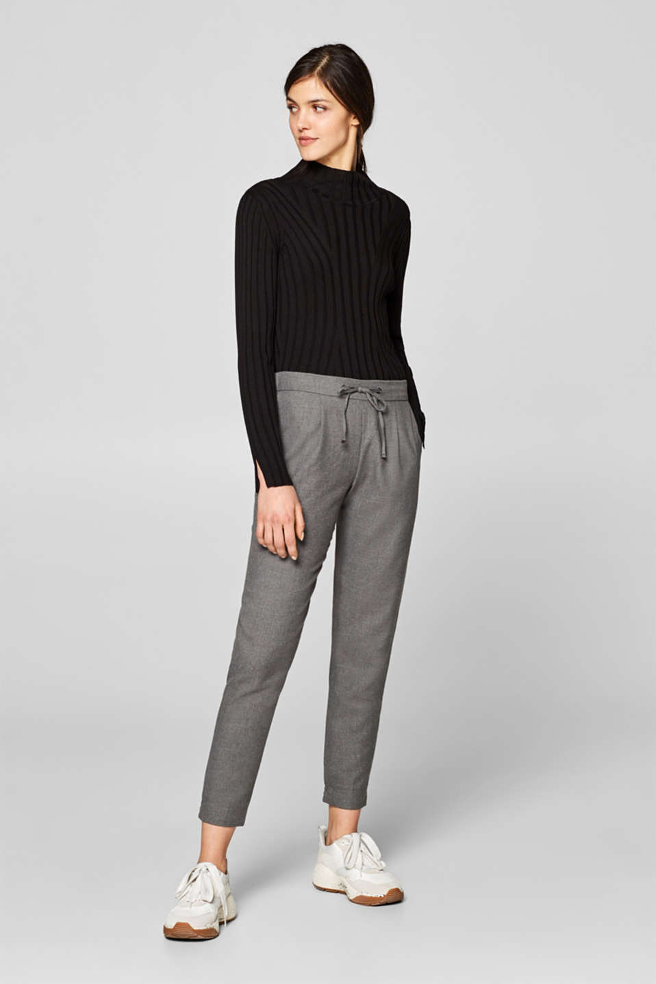 Esprit - Melange tracksuit bottoms with waist pleats