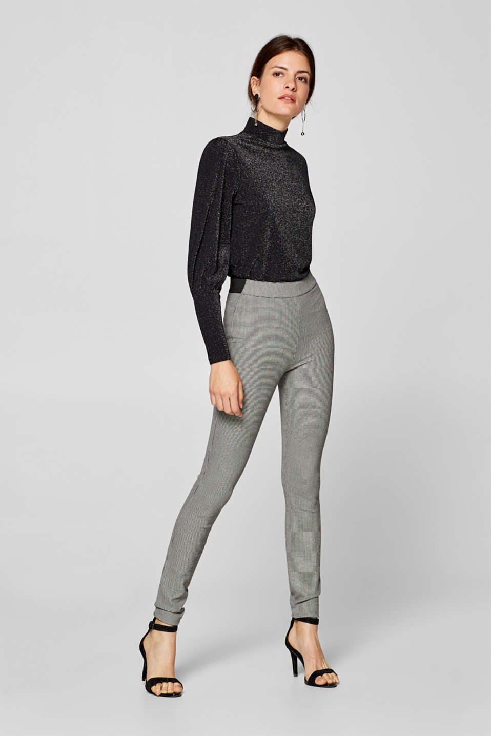 Esprit - Stretch houndstooth trousers with an elasticated waistband