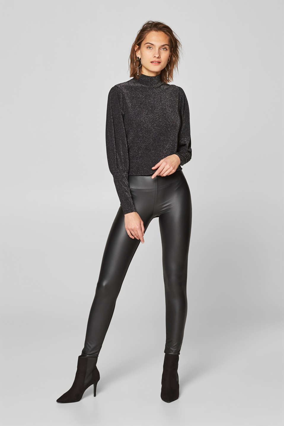 Esprit - Faux leather stretchy treggings