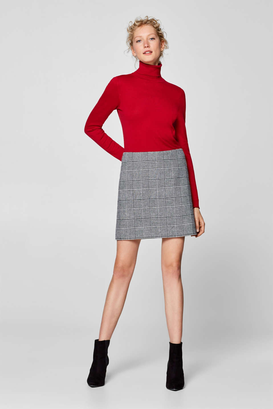 Esprit - Velvety stretch skirt, plain/houndstooth