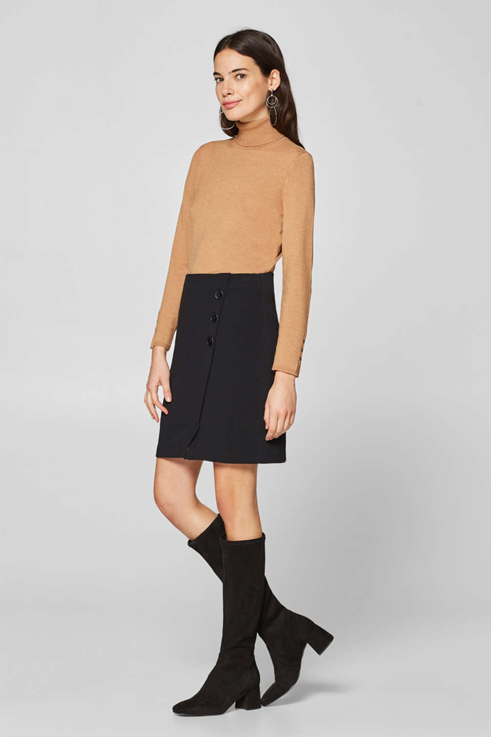 Esprit - Wrap-over effect skirt in ribbed jersey