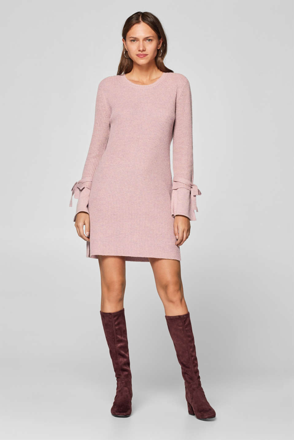 Esprit - With cashmere: knitted dress with bows on the sleeves