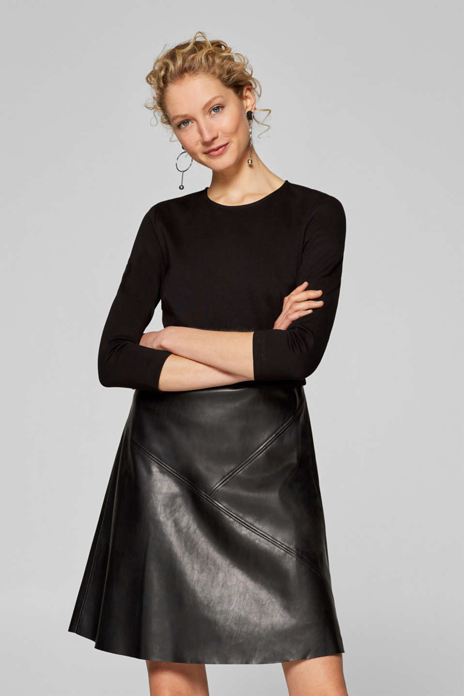 Esprit - Dress with a flared faux leather skirt