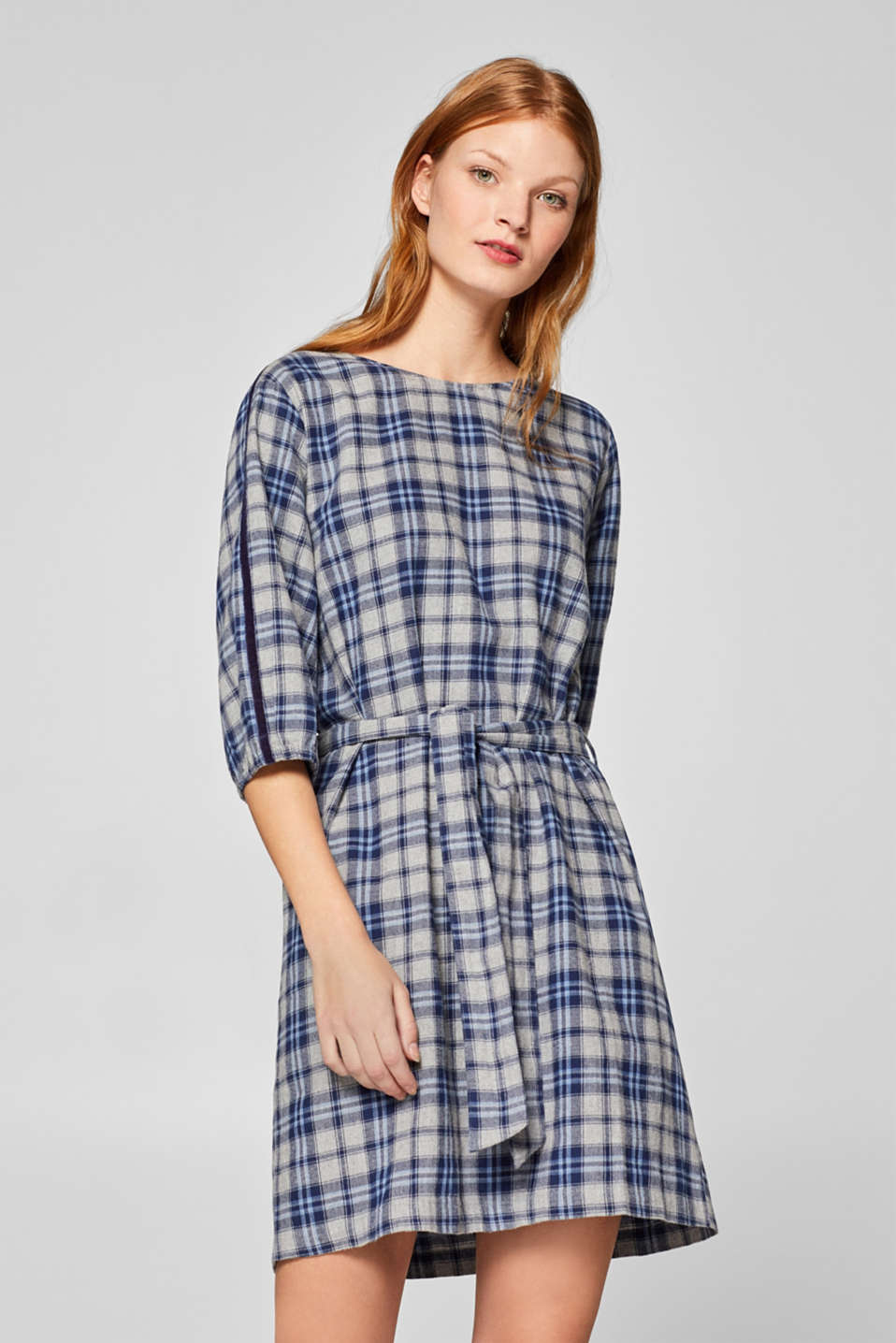 Esprit - Check flannel dress, 100% cotton