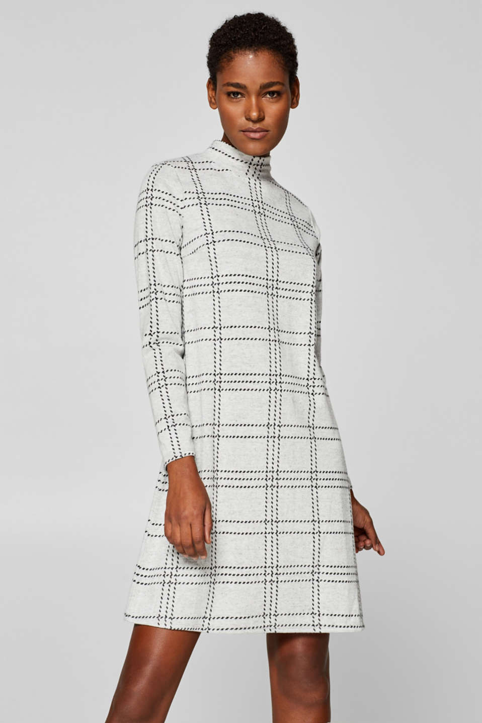 Esprit - Brushed-up stretch jersey dress with a stand-up collar