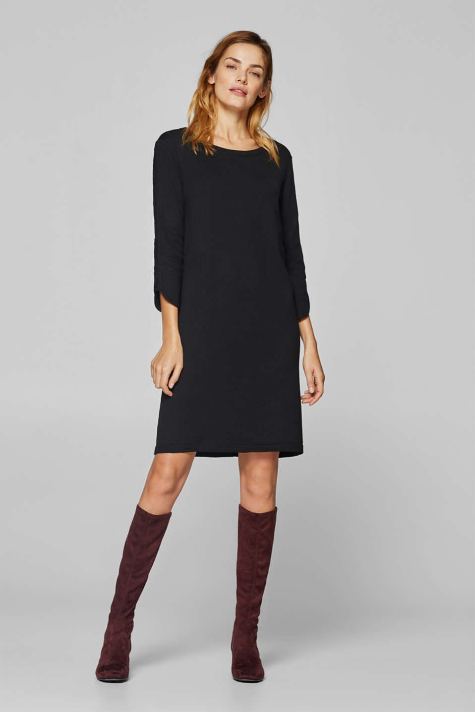 Esprit - Knit dress with lace accents