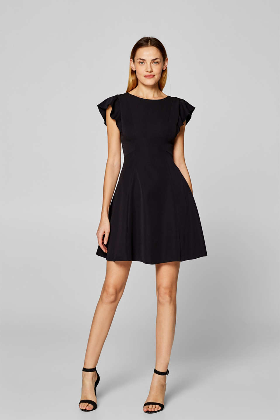 Esprit - Dress in stretch jersey with flounce sleeves