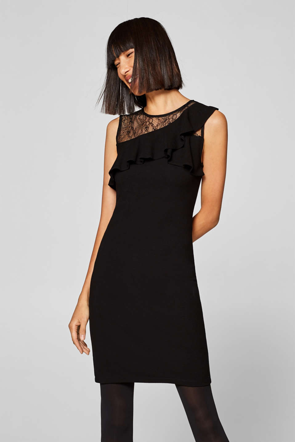 Esprit - Stretch jersey shift dress with frills and lace