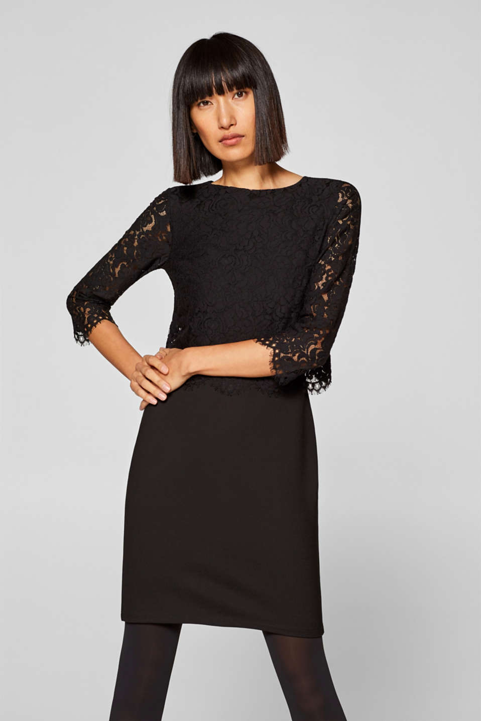 Esprit - Stretch jersey dress with a lace top