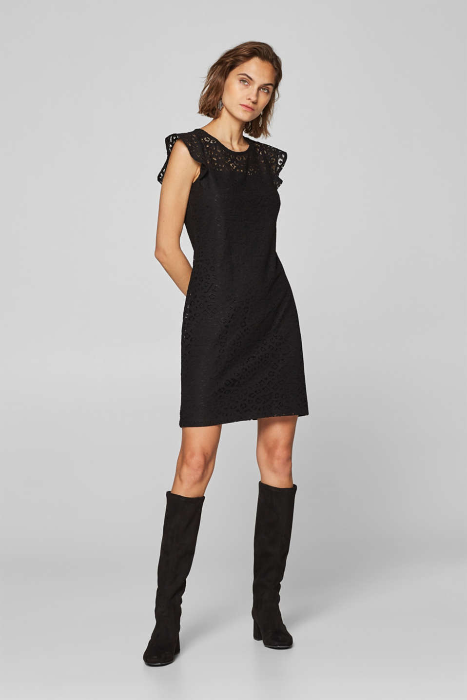 Esprit - Lace sheath dress with wing sleeves