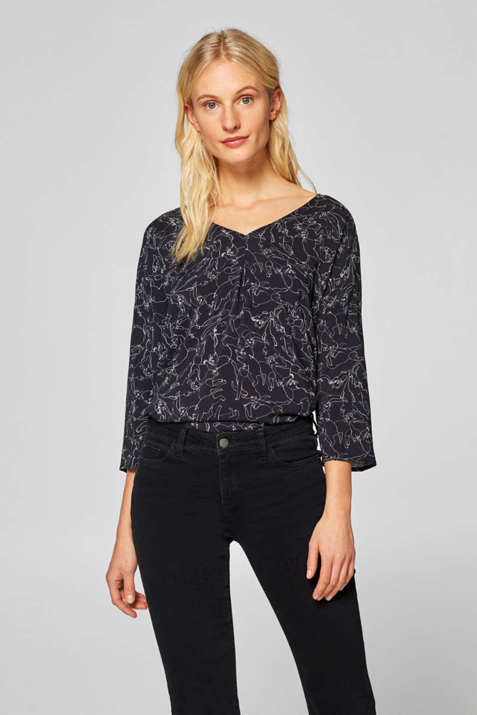 Esprit - Printed blouse with an inset front pleat