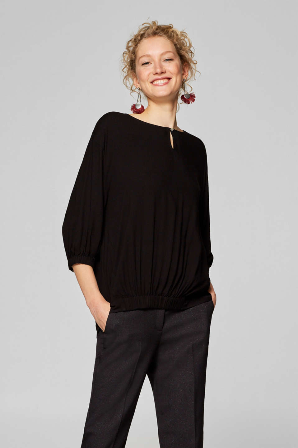Esprit - Oversized blouse with elasticated detailing