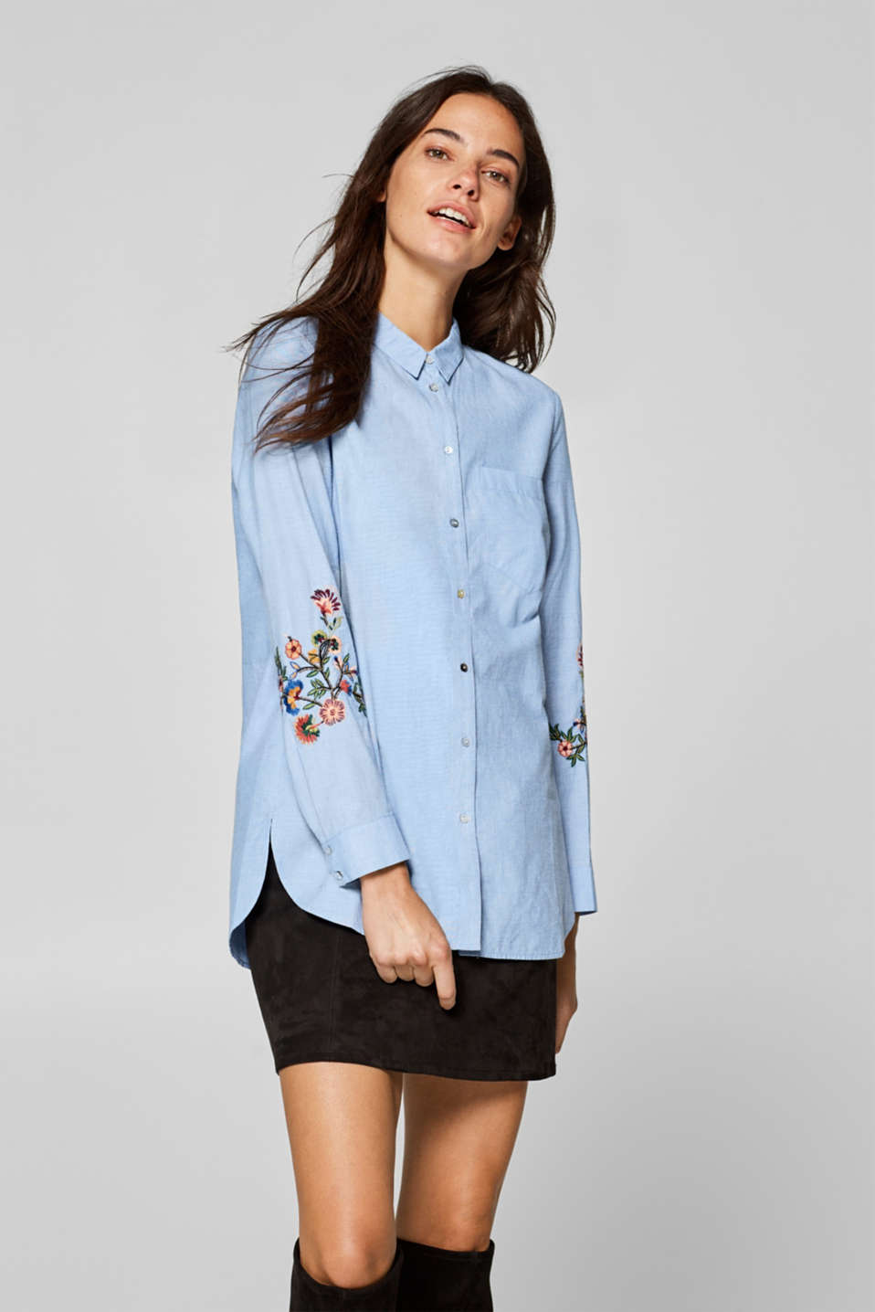 Esprit - Embroidered long blouse in 100% cotton