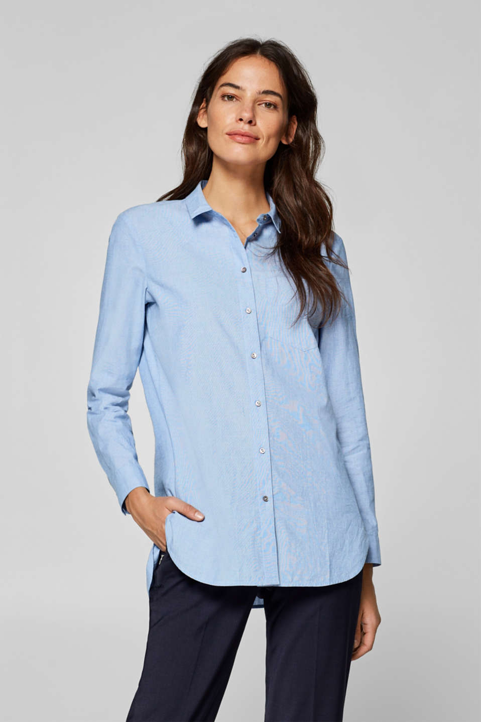 Esprit - Long basic shirt blouse, 100% cotton