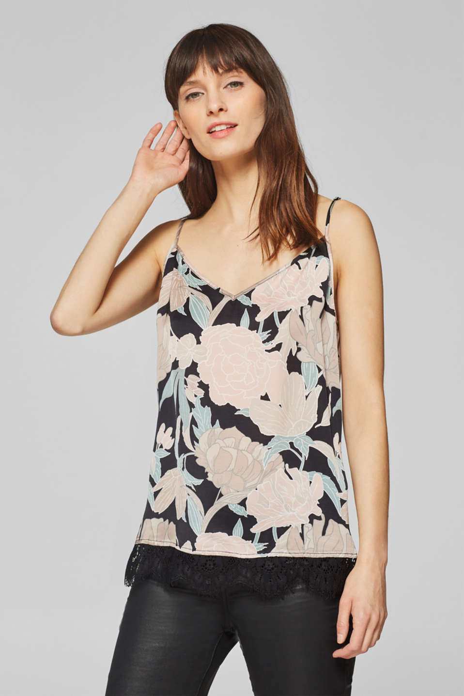 Esprit - Printed spaghetti strap top with lace