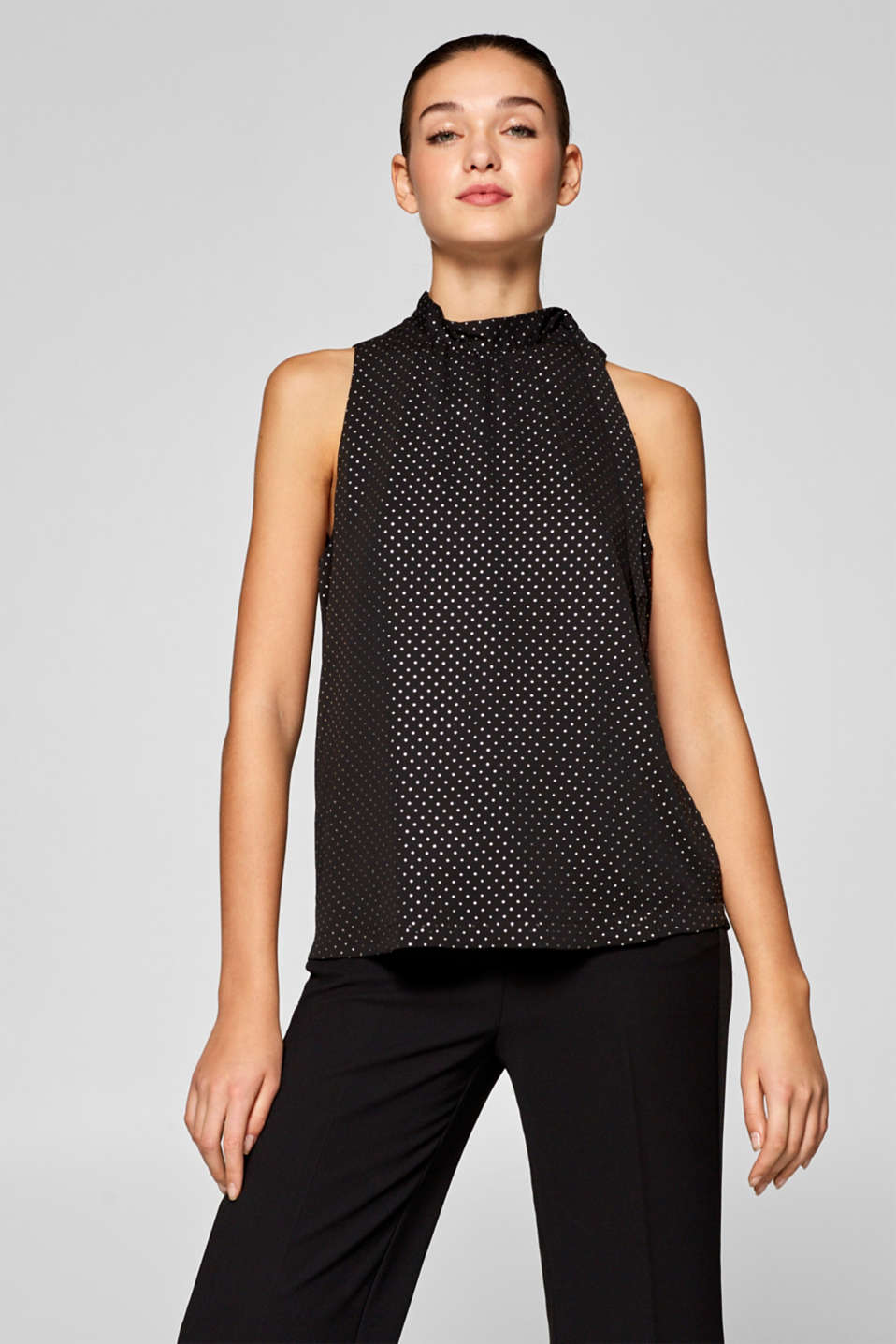 Esprit - Blouse top with shiny polka dot print