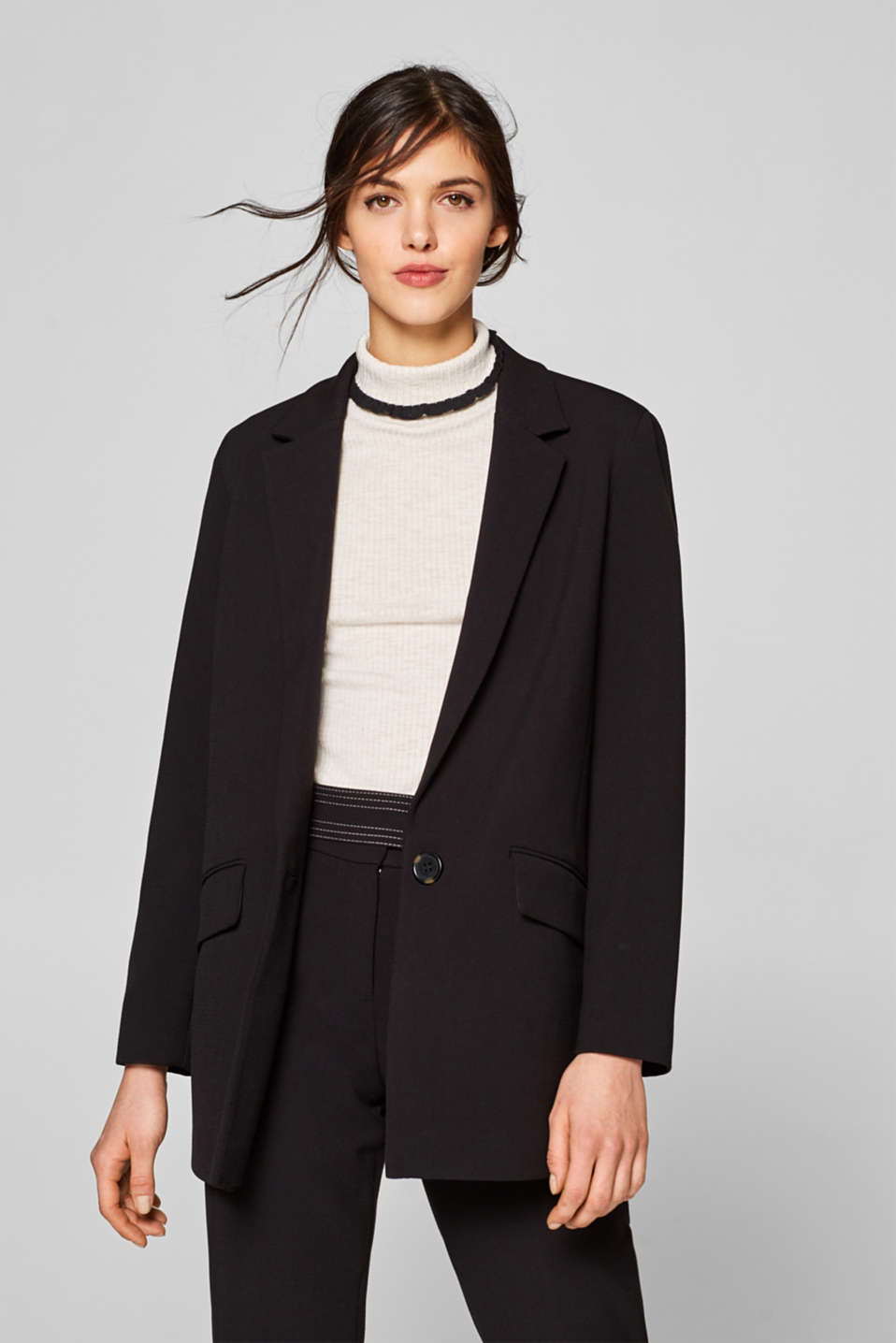 Esprit - Stretch blazer in a casual, long design