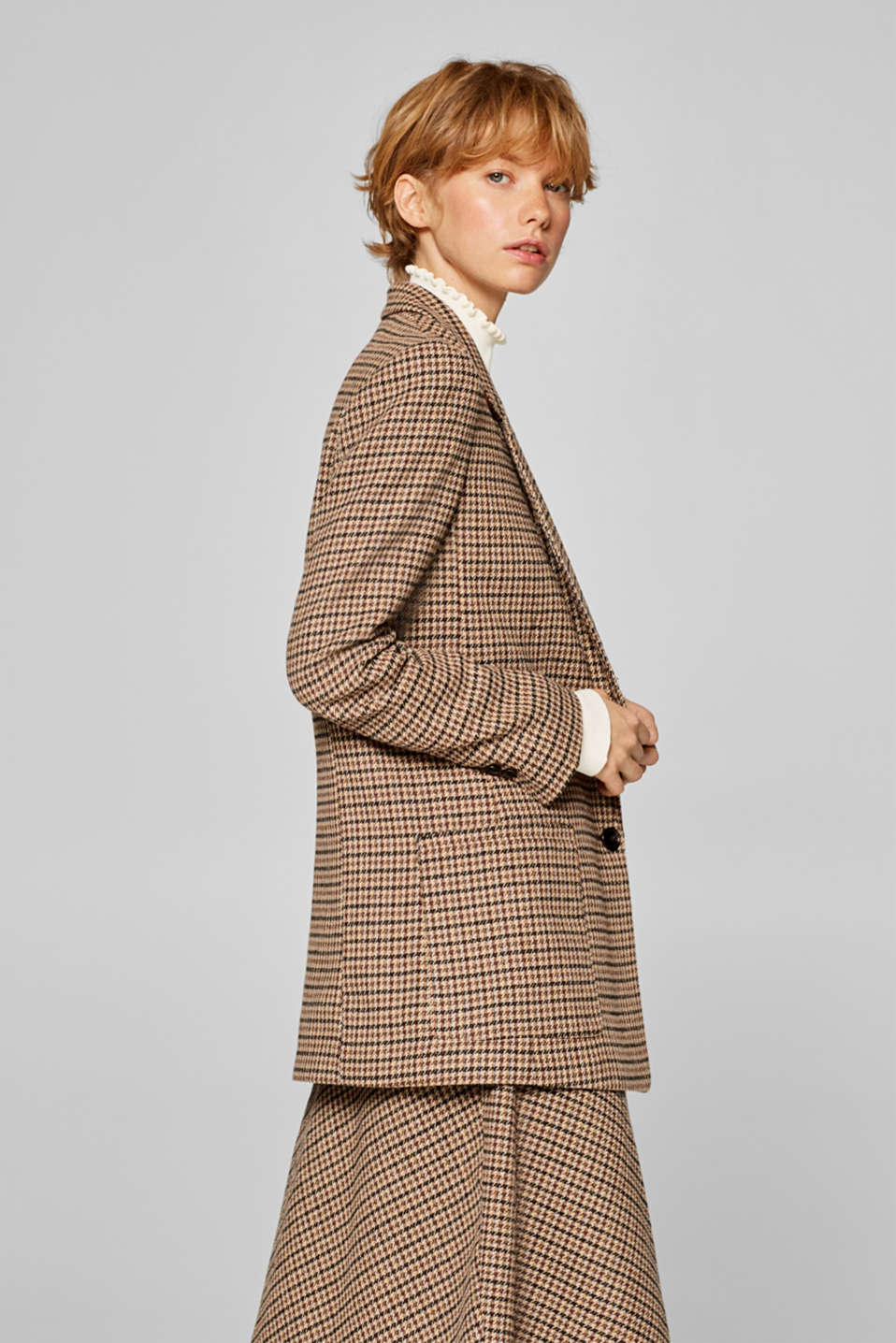 Esprit - With wool: casual check blazer with stretch for comfort