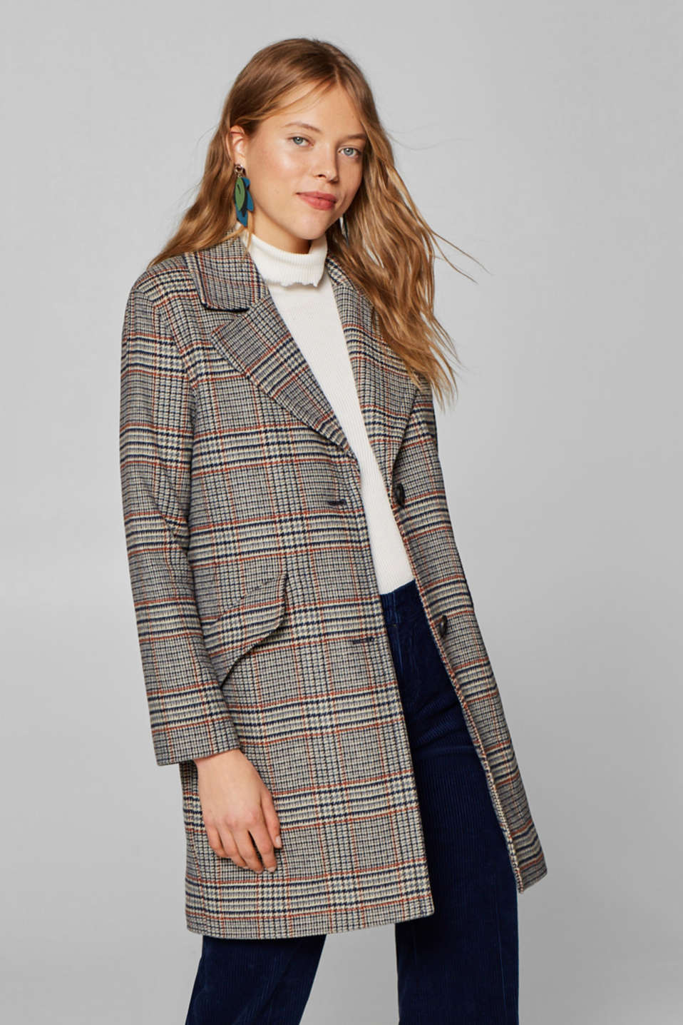 Esprit - Wool blend: padded check coat