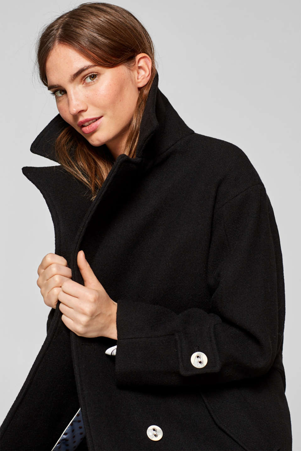 Esprit - Pea-style double-breasted coat in blended wool