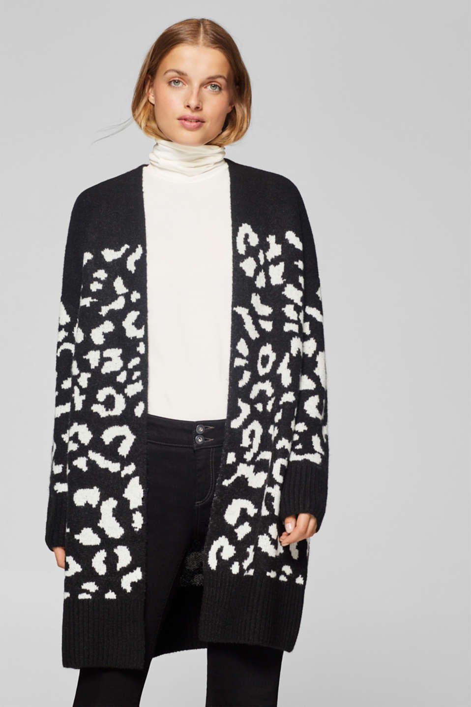 Esprit - With wool: Cardigan with leopard intarsia