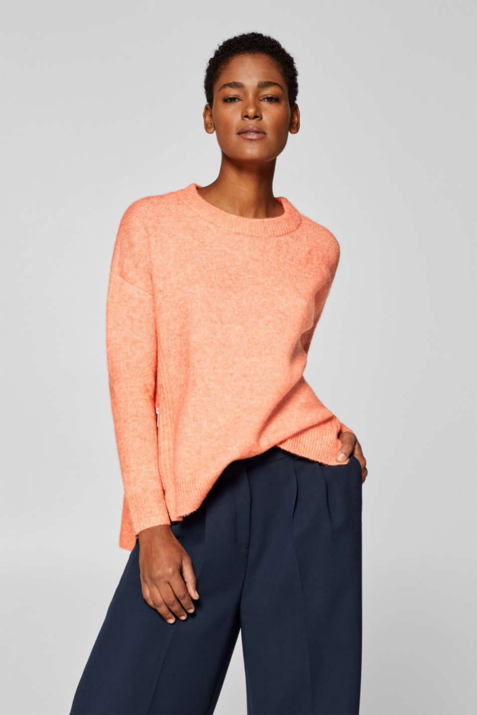 Esprit - Wool blend: jumper with side zips