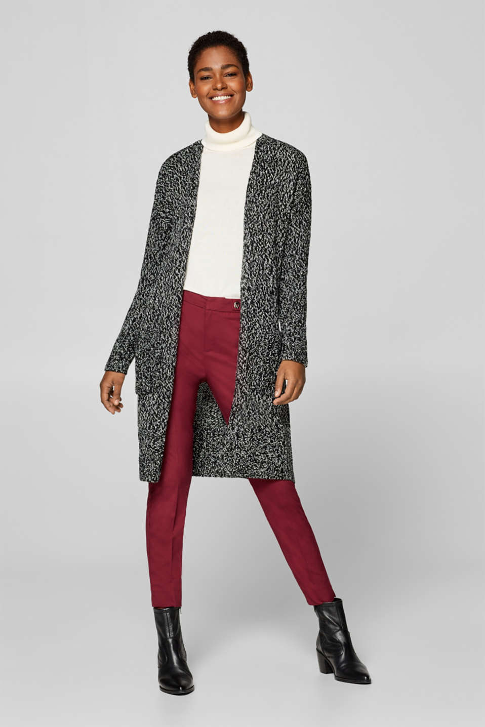 Esprit - Wool blend: Long cardigan with patch pockets