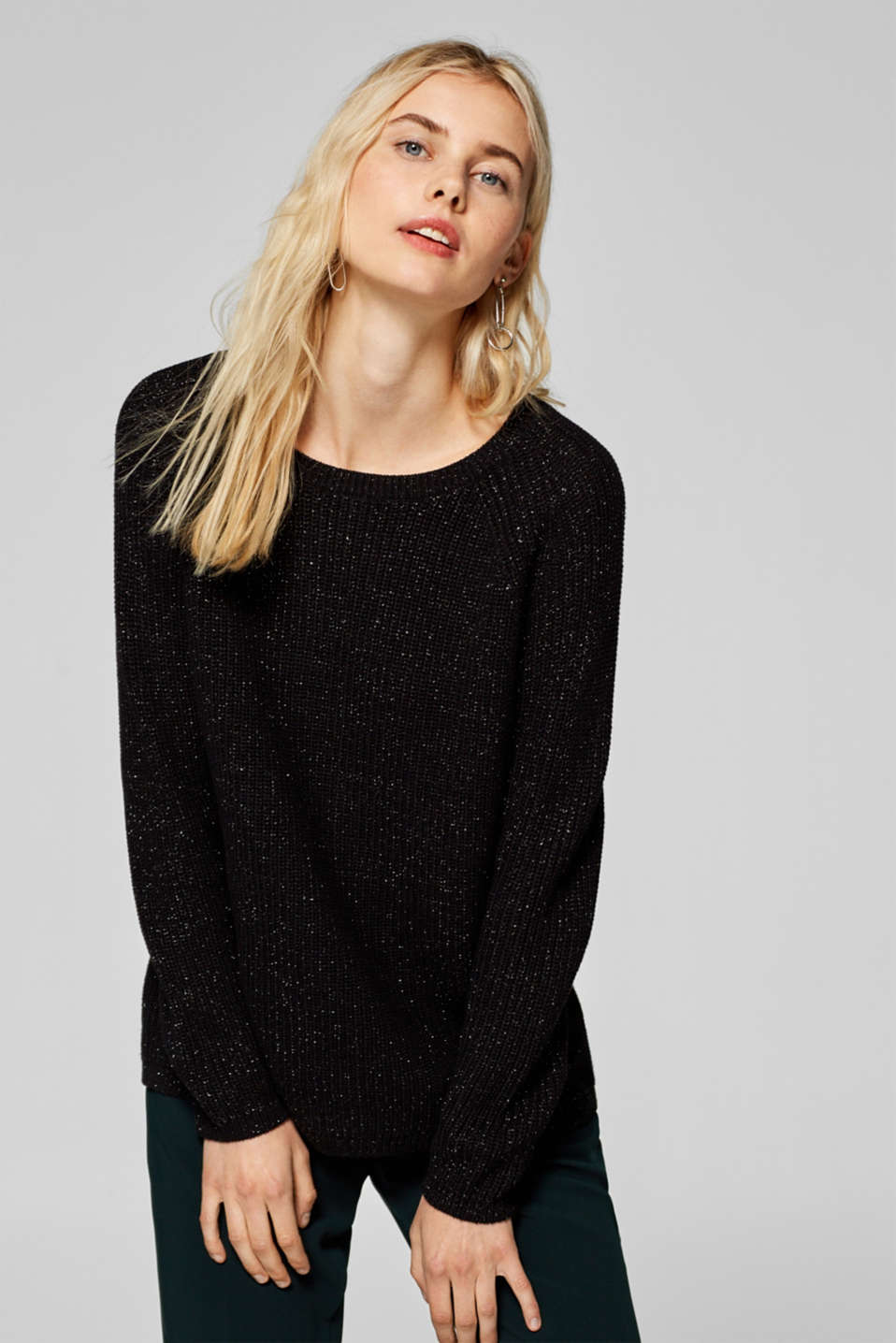 Esprit - Glittering jumper with a back zip