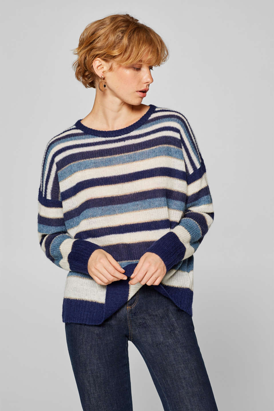 Esprit - With wool/mohair: Jumper with glitter stripes