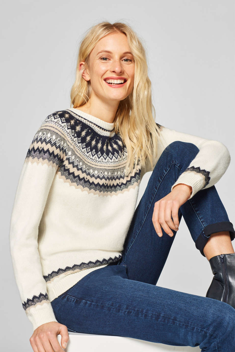 Esprit - With wool: Fair Isle jumper with glittering embellishment
