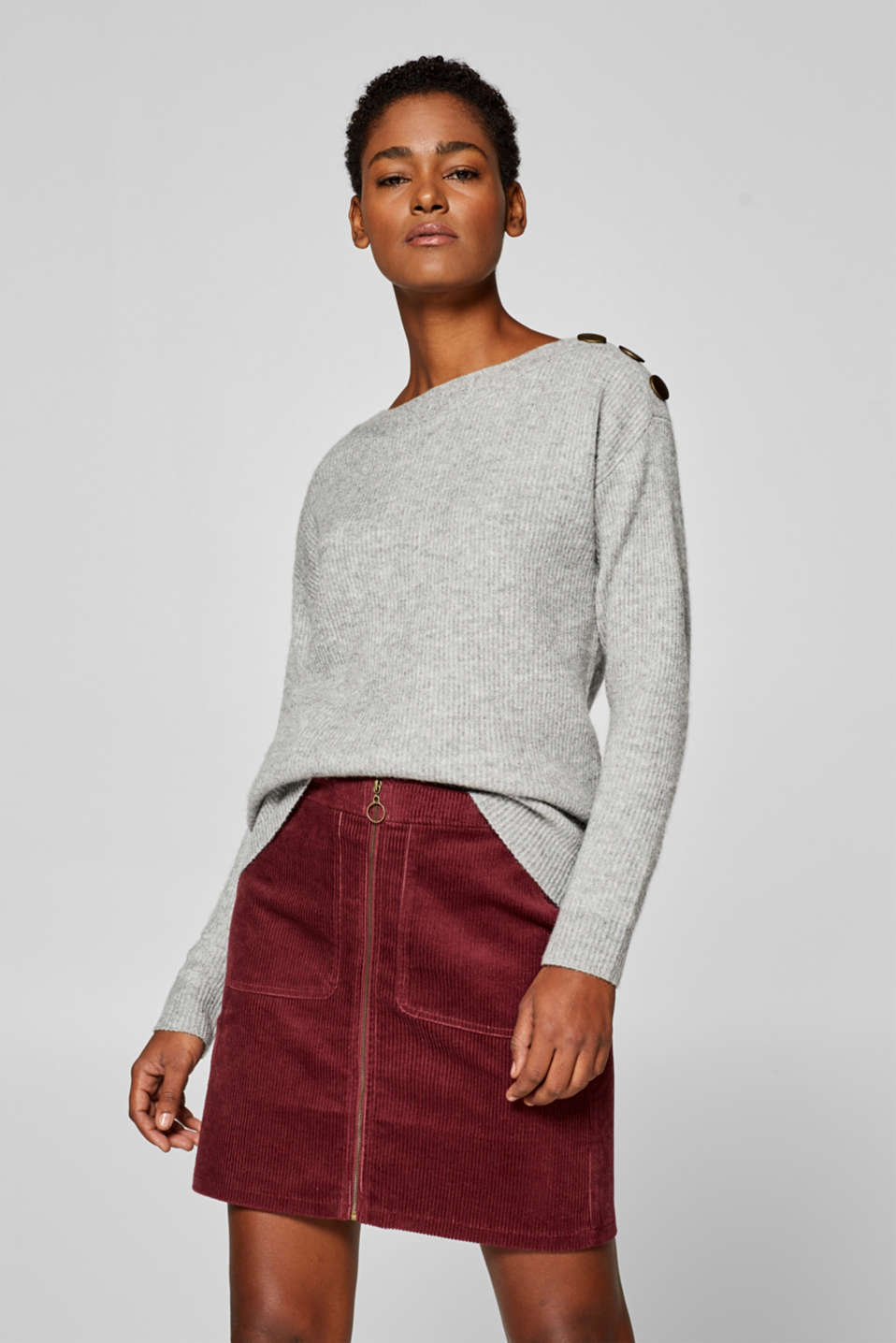 Esprit - Wool blend: jumper with a bateau neckline and button placket