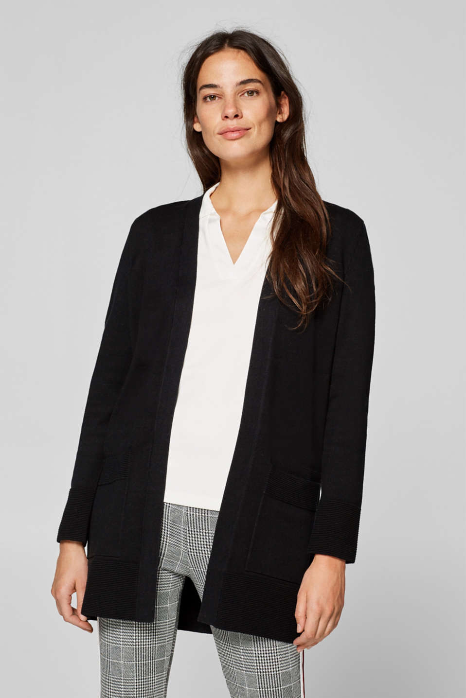Esprit - Long cardigan with ribbed details