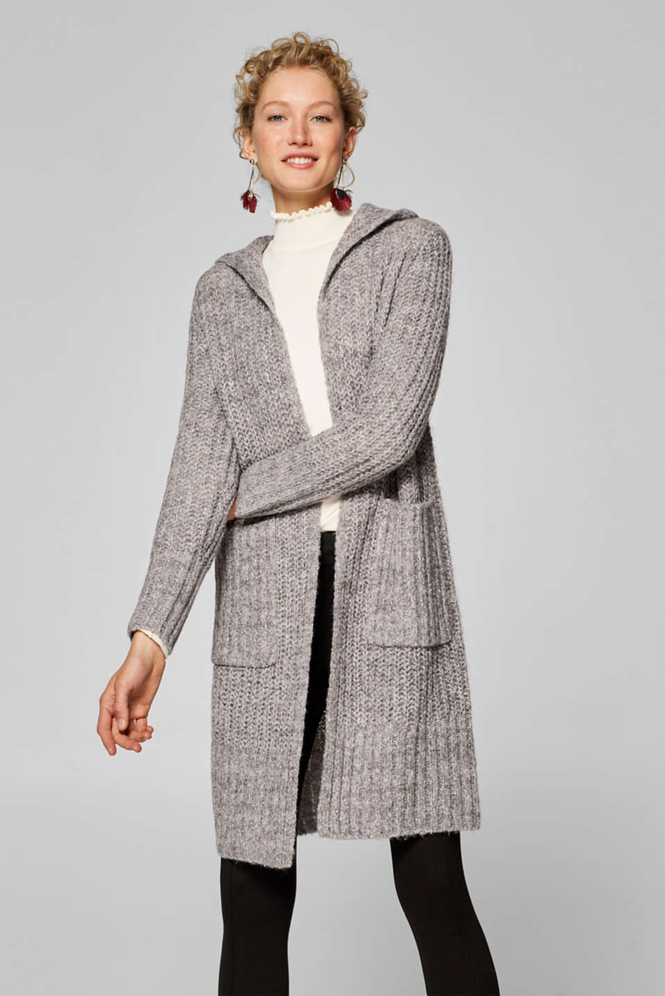 Esprit - Wool blend: long cardigan with a hood