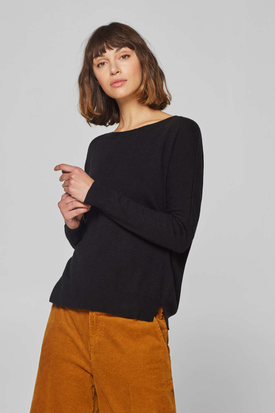 Esprit - With wool: knit jumper with gemstones