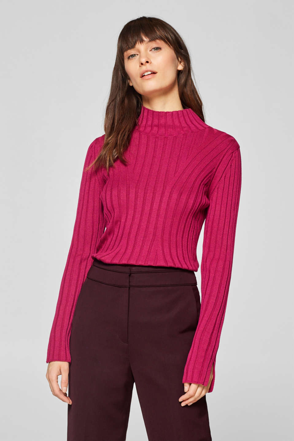 Esprit - Wide ribbed long sleeve top with stand-up collar