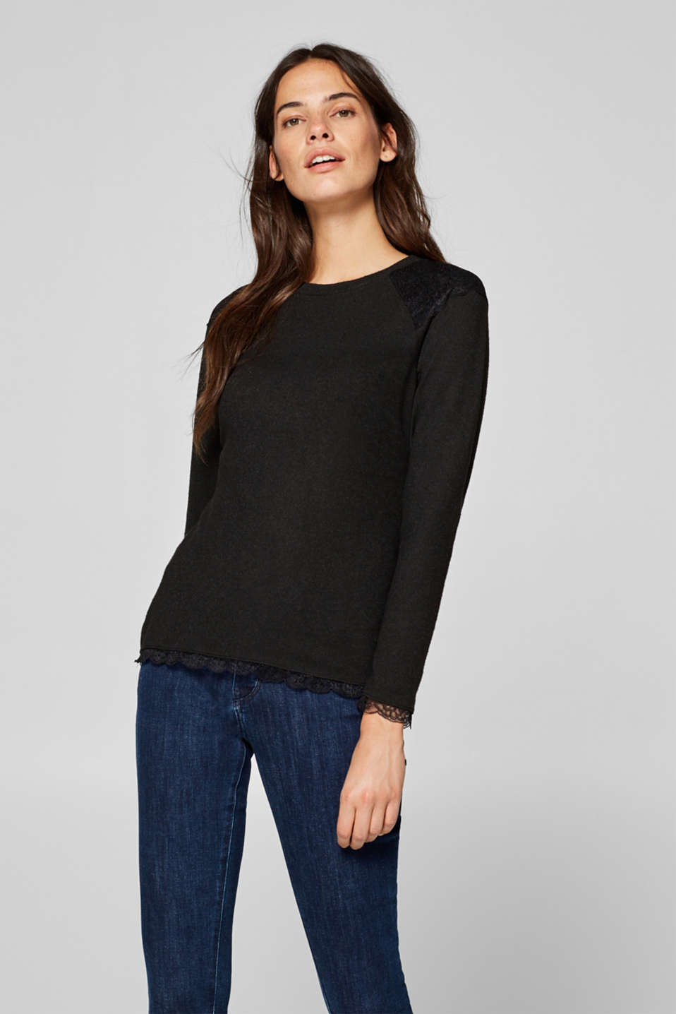 Esprit - Softly brushed long sleeve top with lace